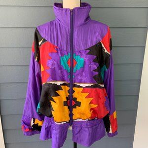 Vintage Color Block Windbreaker Aztec Jacket Sz L